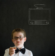 Thinking boy business man with chalk tv television