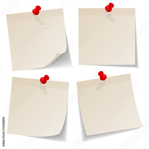 4 Beige Stick Notes Red Pins