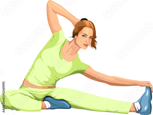 girl engaged in sports stretching