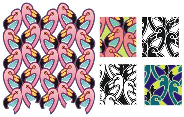 Flamingo pattern with tiles and variations