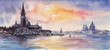 Venice,Italy at sunset.Picture created with watercolors.
