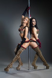 Two young sexy women exercise pole dance
