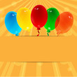 balloons on the orange background
