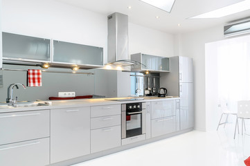 Light Gray Kitchen in White room