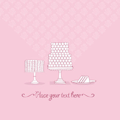 Beautiful vector wedding background with cakes