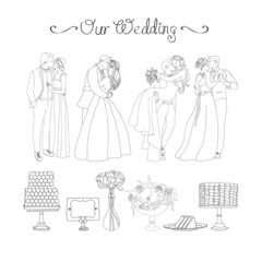 Beautiful wedding vector set