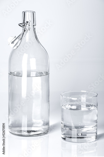 A bottle and a glass of water