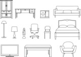 Furniture, line drawing