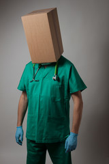 Doctor with cardboard box head
