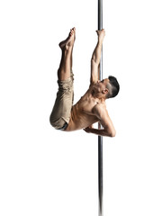 Young strong pole dance man isolated