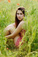 girl resting in field