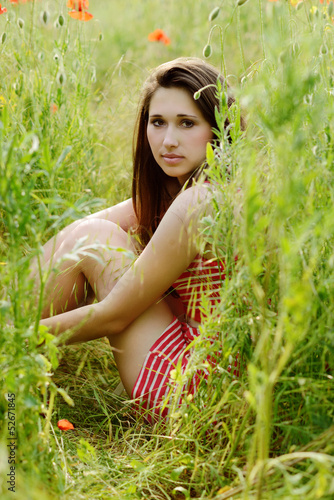 girl resting in field