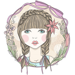 Pretty girl with flowers and butterfly element frame.