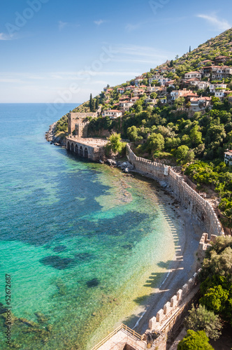 sea, mountain and old fortress in Alanya, Turkey