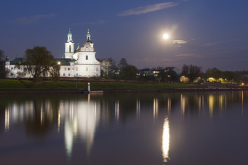 Poland, Krakow, Skałka Abbey Moonlit