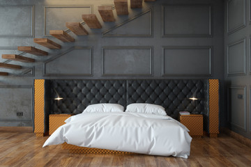 Black Bedroom Interior With Stairs (Front View)