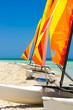 Catamarans with colorful sails on a cuban beach