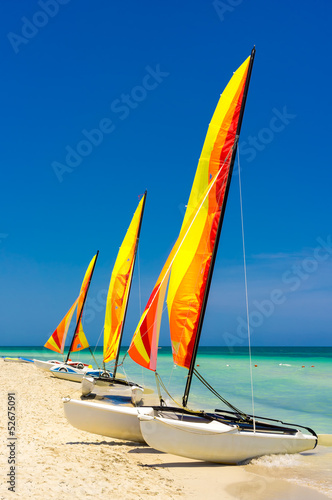 Catamarans at the beach of Varadero in Cuba