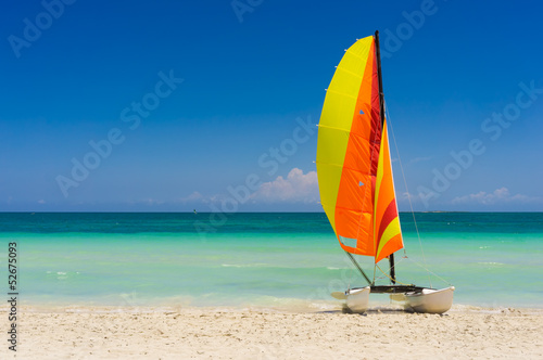 Sailing boat on Varadero beach in Cuba