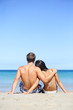 Beach lifestyle couple in love on vacation