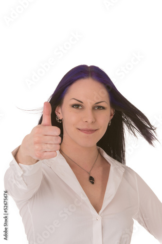 Pleased businesswoman giving a thumbs up