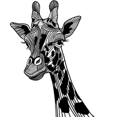 Giraffe head vector animal for t-shirt. Sketch tattoo design.