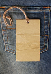 Blank paper label tag on jeans