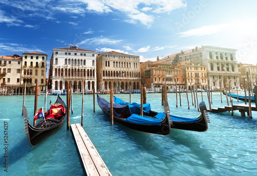 gondolas in Venice, Italy - 52676217