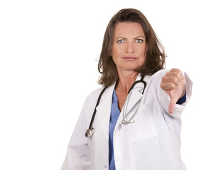 female doctor thumbs down