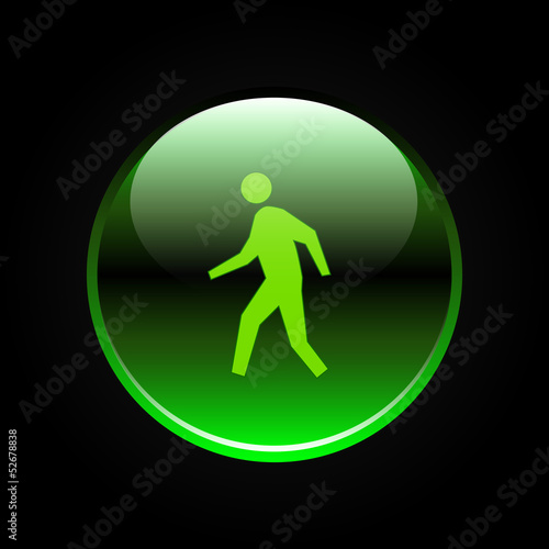 Green glossy man walk sign