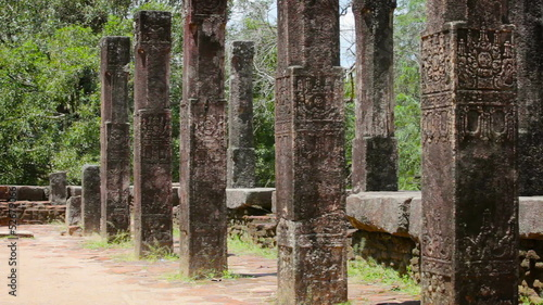 Columns of the ancient ruined temple in Anuradhapura, Sri lanka