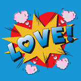Fototapety Love cartoon explosion. Falling in love. Love firework.