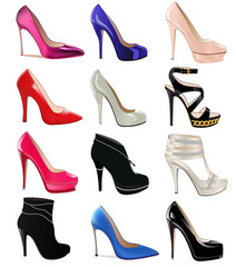 set of women's shoes with heels