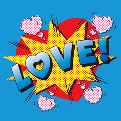 Love cartoon explosion. Falling in love. Love firework.
