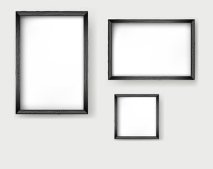 Set frames wooden isolated on white