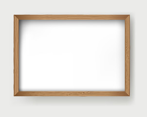 Vector wooden frame isolated on white