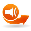 volume sur bouton web orange