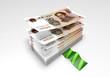 a wad of Yuan banknotes