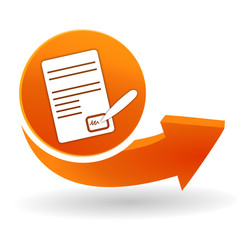 signature sur bouton web orange