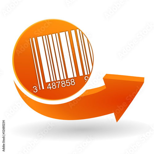 code-barres sur bouton web orange
