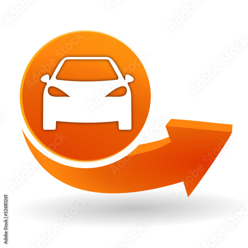 voiture sur bouton web orange