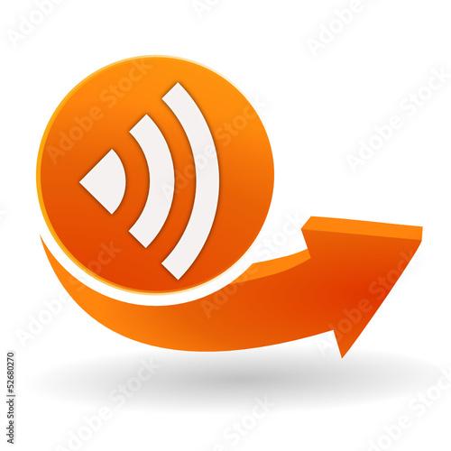 réseau sur bouton web orange
