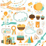 Set of celebration design elements ( vector in CMYK colors)