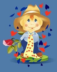 chłopiec z różą