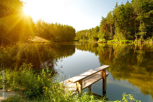 Summer landscape with forest lake - 52681871