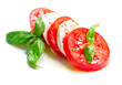Caprese Salad. Tomato and Mozzarella slices with basil leaves