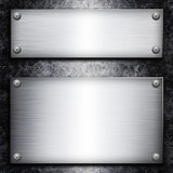 Brushed steel plate over galvanized metall background for your d poster