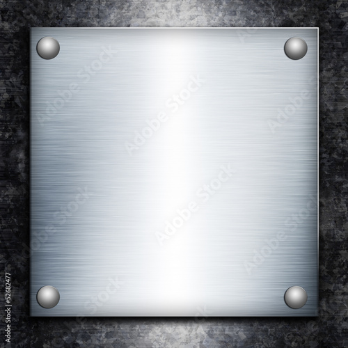 Brushed steel plate over galvanized metall background for your d