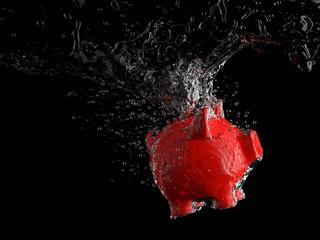 Piggy bank - water splash (red pig)