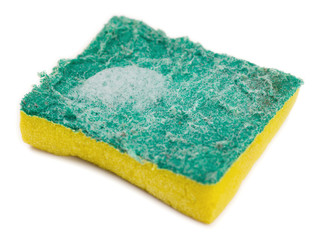 Dirty green and yellow kitchen sponge with soap suds on white
